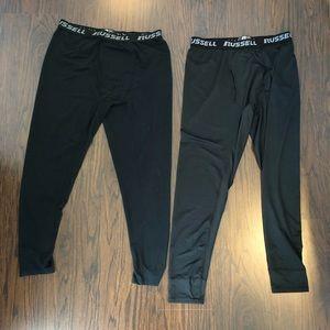 Russell Men's Base Layer Thermal Pants 2 pair dri